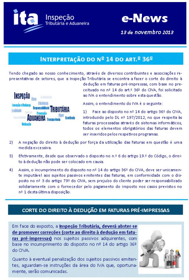 Interpretação do Nº14 do Artº 36º do CIVA